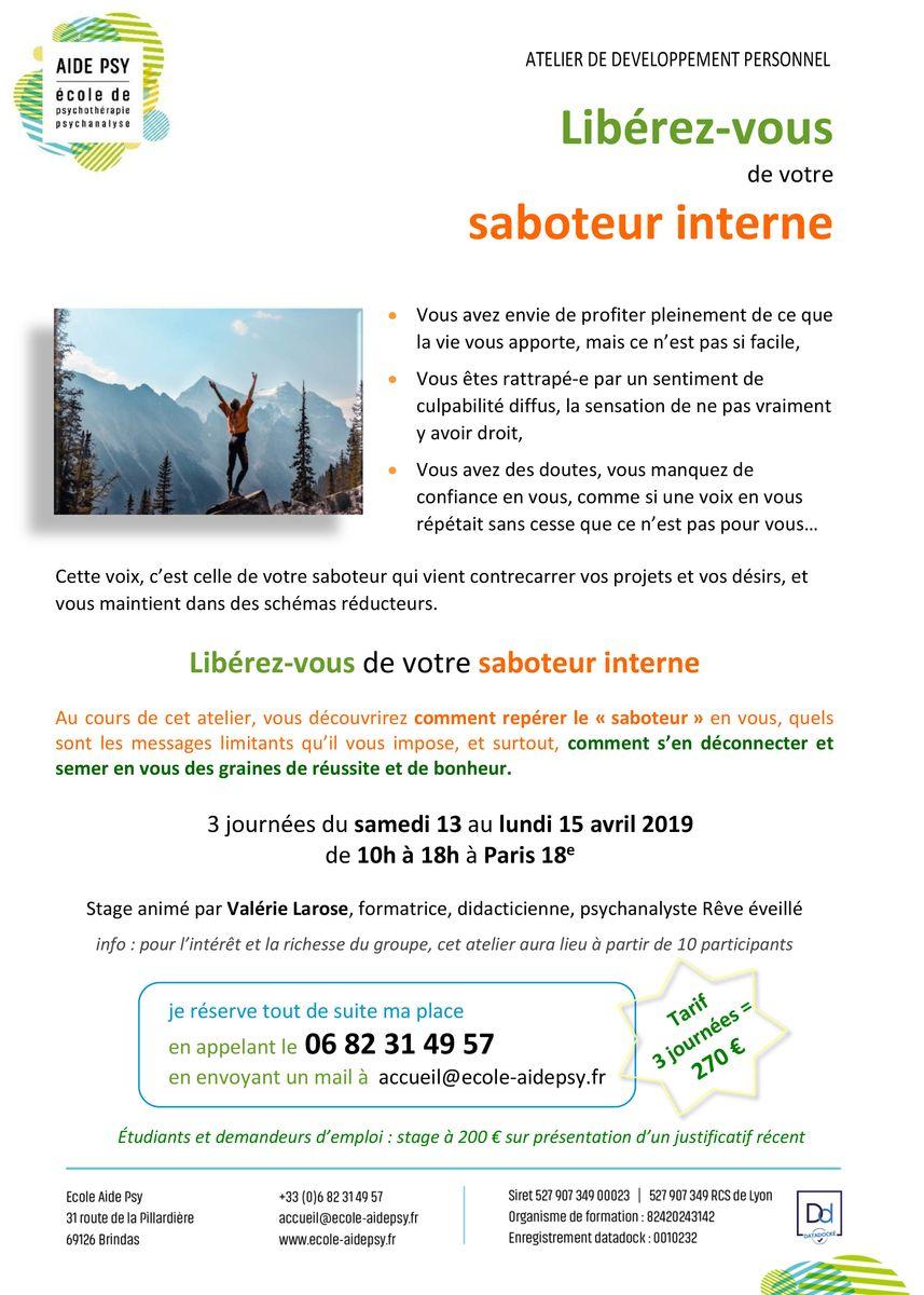 Atelier_Saboteur_AIDE_PSY_Valerie_Larose_PARIS_13_au_15_04_2019 - Ecole AIDE Psy