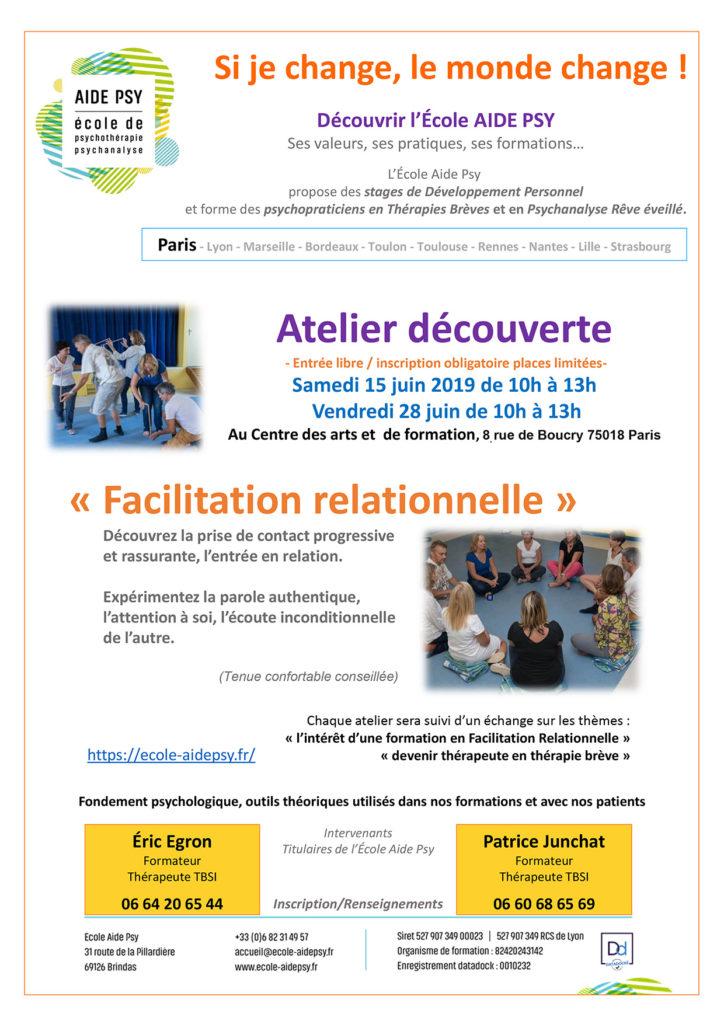 Atelier decouverte paris 062019 - Ecole Aide Psy